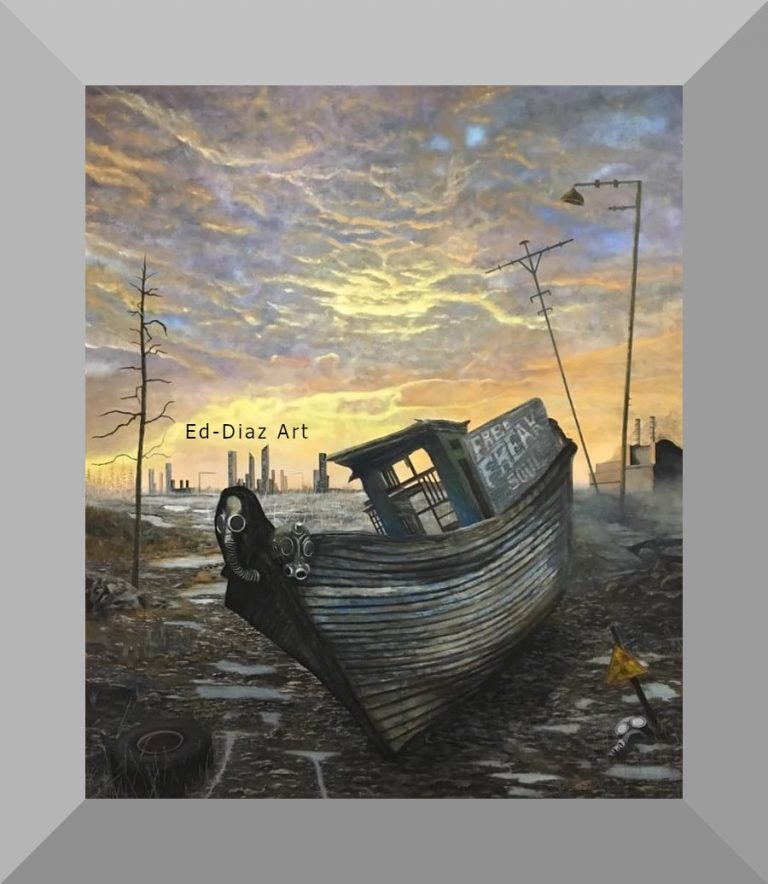 Ed diaz canvas painting boat run aground