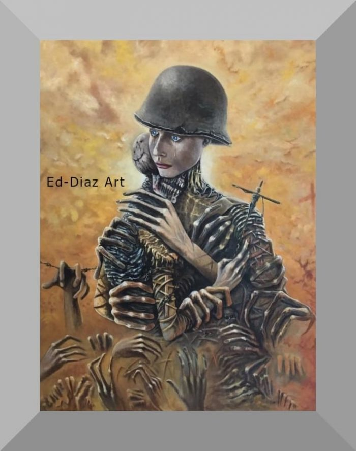 Ed diaz canvas painting female soldier embracing skeleton