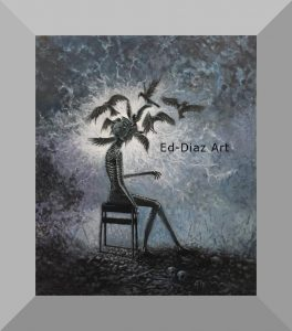 Ed diaz canvas painting man sitting chair surrounded birds