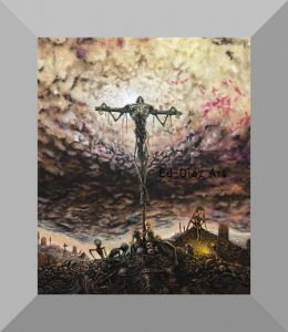 Ed diaz canvas painting skeleton crucifixion