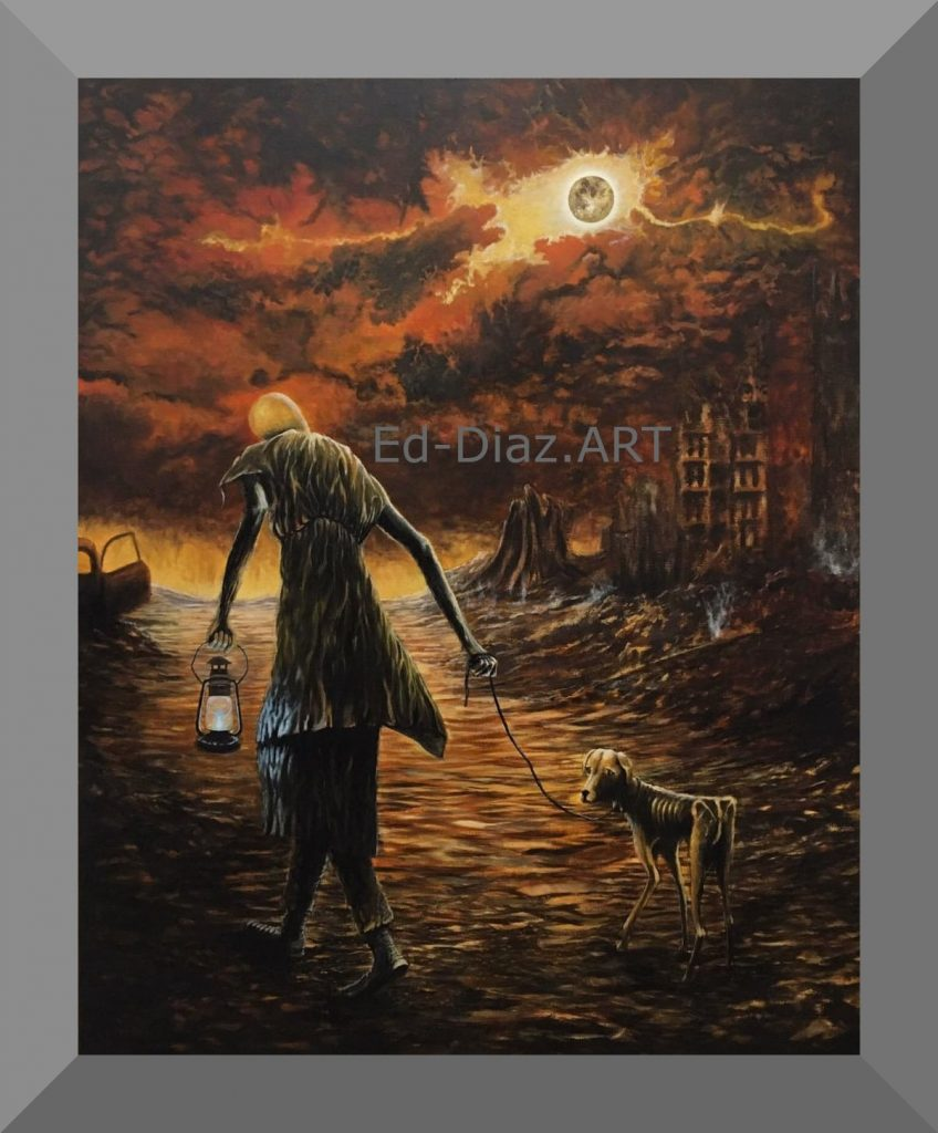 Ed diaz painting apocalypse scene woman walking dog