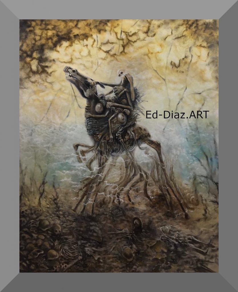Ed diaz painting ghost haunting horseman