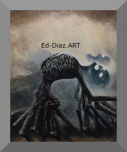 Ed-diaz-canvas-painting-haunted-skeleton