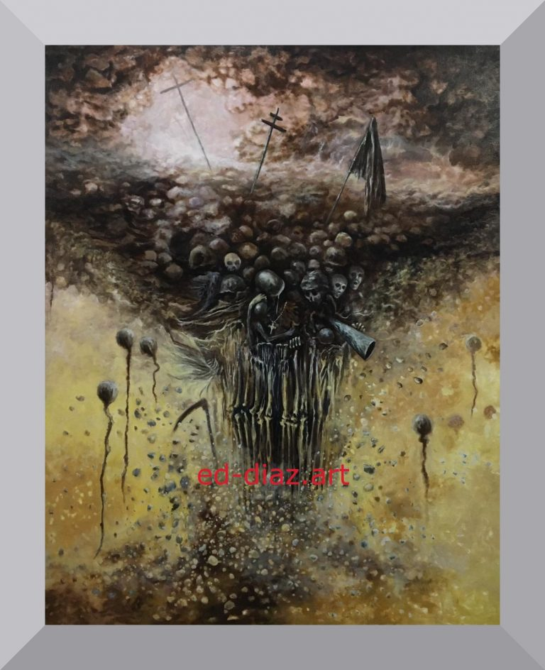 Ed diaz canvas art painting skeletons prison escape