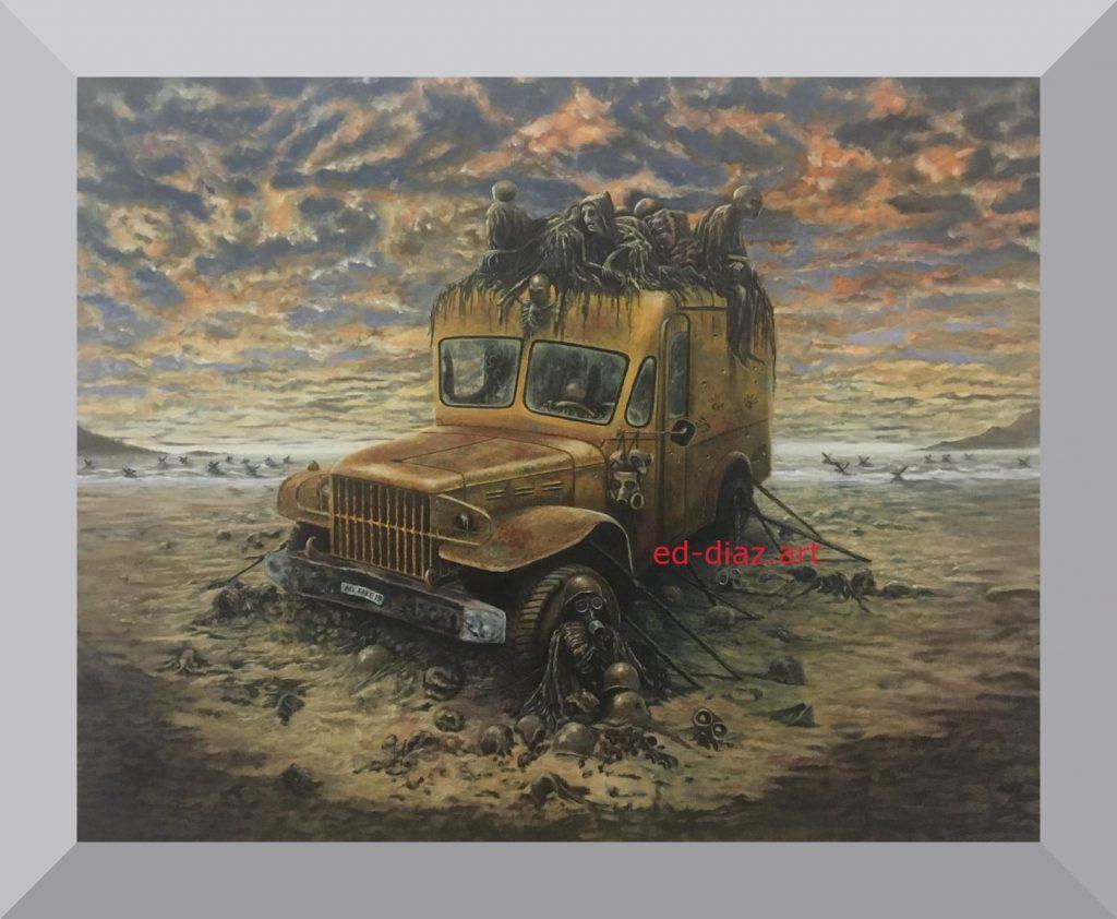 Ed diaz canvas art painting skeletons truck