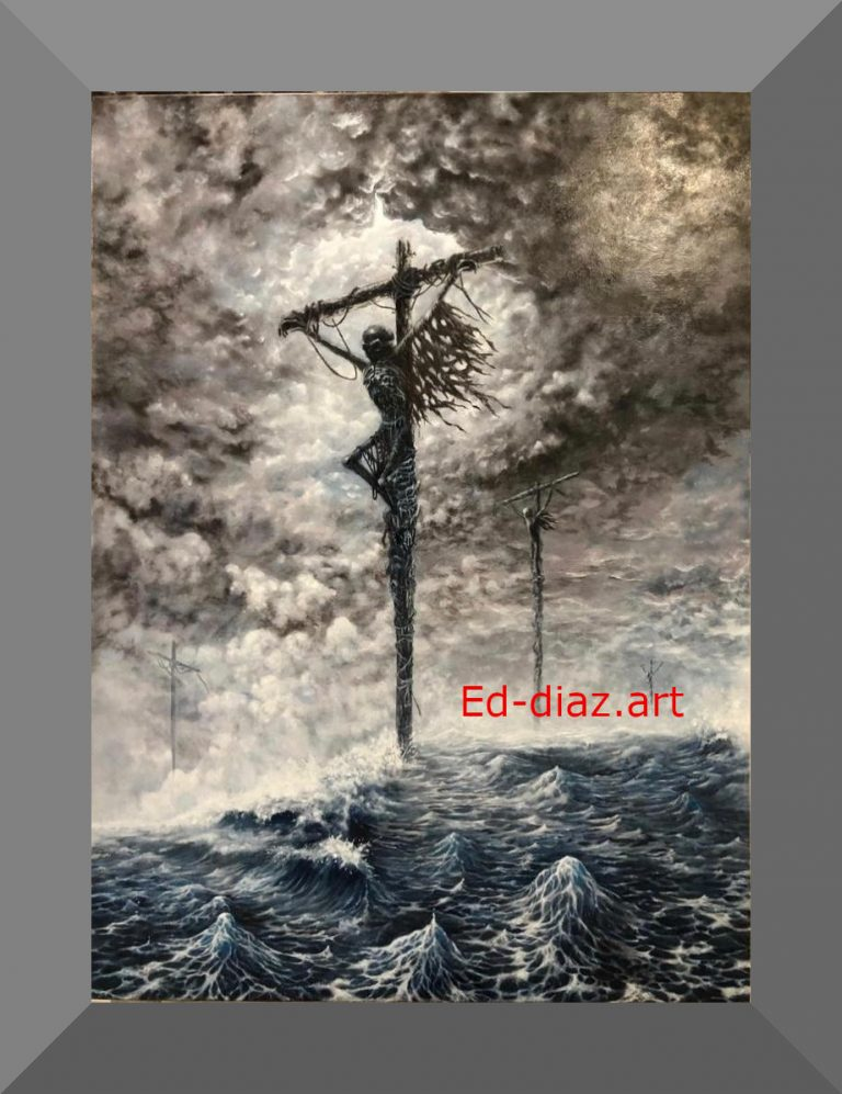 Ed diaz canvas painting crucifixion ocean